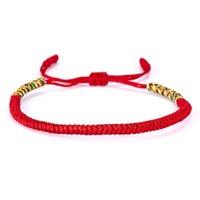 budist takılar toptan satış-19 Renkler Tibet Budist Aşk Şanslı Charm Tibet Bilezik Kadın Erkek El Yapımı Knot Için Bilezikler Halat Budda Bilezik