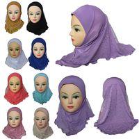 rendas de moda hijab venda por atacado-Meninas Crianças Muçulmanos Hijab Islâmico Árabe Cachecol Xales com Padrão de Neve Do Laço Bonito Acessórios de Moda