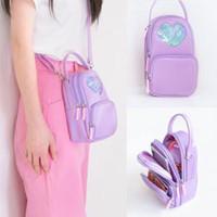 bolso corea del hombro al por mayor-Milkjoy Girls Messenger Bag Heart Women pu Bolsos Moda Hombro Corea Messenger Bags Bentoy PU Carry Phone Bag AAA1796