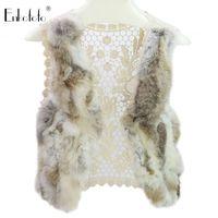 настоящие меховые шорты оптовых-2019 Winter Natural Real  Fur Vest Coat Women Coats Waistcoat Patchwork Crochet Female Short Fur Coats Real Coat Jacket