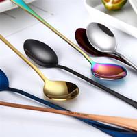 enviar gadgets al por mayor-Aproximadamente 19.5 * 3 cm 410 Acero inoxidable Cuchara colorida Mango largo Cucharas Cubiertos de moda Café Herramientas para beber Gadget de cocina Envío directo