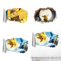 ingrosso adesivi 3d vivaisti-Popolar Cartoon Pikachu Decal rimovibile Wall Stickers Home Decor Art Bambini / Bambini / vivaio Living Home Decoration regalo
