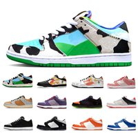 мужская обувь оптовых-Stock X Nike SB DUNK Ben & Jerry's X Chunky Dunky Dunk Low Mens sports designer sneakers dunks Panda Pigeon Safari Tie-Dye Infrared Shadow University red women men Casual shoes
