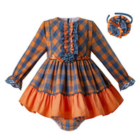 Wholesale o costume for sale - Pettigirl Vintage Plaid Baby Girl Designer Clothes Set With Back Zipper Princess Clothing Set With PP pants Kid Costumes G DMCS110 B435