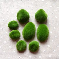 Wholesale miniature bonsai resale online - 8 Set Green Artificial foam Moss Stones Grass Bryophytes Plant Bonsai for Home wedding Garden Decoration Miniature Dollouse