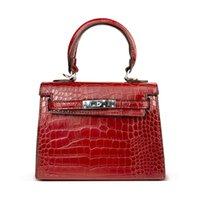 tasarımcı kadın timsah çanta lüks toptan satış-Kadın Çanta Timsah Çanta Anti-Theft Lüks Çanta Yüksek Kaliteli Timsah Tasarımcı Kilit Omuz Kadın Haberci Kadın Çantaları