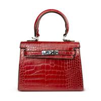 Wholesale black crocodile leather handbags resale online - Women s Bag Alligator Bags Anti Theft Luxury Handbags High Quality Crocodile Designer Lock Shoulder Female Messenger Women Bags