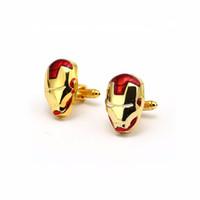 demir düğmeler toptan satış-HSIC Yeni Modası Demir Adam Kol Düğmesi Avengers Manşet Bağlantı Fransız Gömlek Kol Manşet Düğmeleri Erkekler Takı Düğün Hediyeleri HC12711 D19011004