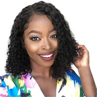 ingrosso capelli neri acconciature corti-Parrucche nere ricce dei capelli ricci della parrucca di nuovo modo dell'acconciatura 2019 per le donne