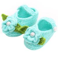 bebê recém-nascido sapatos de crochê venda por atacado-0 a 18 Meses Bebê Meninas Sapatos Artesanais Primeiros Caminhantes Bebê Recém-nascido Infantil Meninos Meninas Crochet Malha Sapatos Da Criança