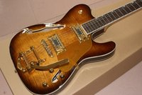 Wholesale flame sunburst electric guitar for sale - Group buy Custom factory new and retail hand made string F jazz hollow body electric guitar Sunburst double tiger flame guitar available