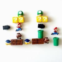 onlarca set toptan satış-On stilleri Süper Mario Mario buzdolabı mıknatısları 3d stereo set Mario dekorasyon Japon mıknatıs yaratıcı sevimli V109