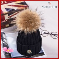 Wholesale knitted snapback for sale - Group buy 2019 Winter Knitted Real Fur Hat Women Thicken Beanies with cm Real Raccoon Fur Pompoms Warm Girl Caps snapback pompon beanie Hats
