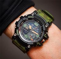 montre de boussole de luxe achat en gros de-Mens New Mode homme Montre de luxe en plein air Sport Militaire numérique Wristwatch Horloge avec boussole cadeau Thermomètre Montres super éclairage automatique