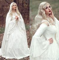 Wholesale medieval gothic wedding dresses resale online - 2019 Renaissance Gothic Lace Ball Gown Wedding Dresses With Cloak Plus Size Vintage Bell Long Sleeves Celtic Medieval Princess Bridal Gowns