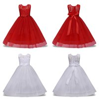 Wholesale satin western dresses for sale - Group buy Childrens Dress Polyester Embroidery Dress Solid Color Bow Sleeveless Lace Princess Western Long Skirt Satin Round Neck