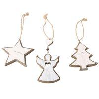 Wholesale angel decor resale online - 3PCS Christmas Rustic Wood Angel Tree Star Hanging Decorative Pendants Hanging Drop Ornaments For Xmas Tree Decor