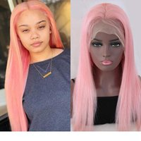 Wholesale baby light pink lace resale online - Pink Full Lace Human Hair wigss Pre Plucked Brazilian Remy Glueless Straight Light Pink Lace Front wigs For White Women With Baby Hair