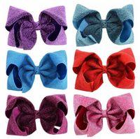 tecido borboleta cabelo venda por atacado-Jojo Siwa Hair Bows 8 polegadas hairpin oversize com borboleta nó brilhante tecido hairdress flor clipe o melhor presente para as crianças