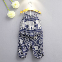 Wholesale elephant print baby clothes for sale - Group buy Children Elephant print outfits girls Sling top pants set summer Baby suit Boutique kids Clothing Sets colors C3892