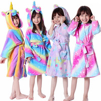 Wholesale baby animal cosplay pajamas resale online - Cute Unicorn Nightgowns Romper Flannel kids Hooded One piece Pajamas Animal Baby Girls Bathrobe Child plush Jumpsuit Cosplay LJJA3355