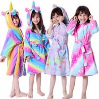 cosplay girl one piece achat en gros de-Mignon licorne Nightgowns Romper enfants Flanelle capuche monopièce Pyjama animaux Bébés filles peignoir enfant en peluche cosplay Jumpsuit LJJA3355-4