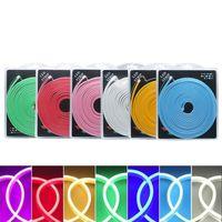 led neon flex 12v toptan satış-Perakende Blister Kiti 2835 SMD 120LED Flex Neon Işık Silikon LED Şerit Halat Işık DC12V Su Geçirmez IP65 Reklam Dekorasyon DIY