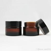 gafas cosméticas negras al por mayor-Brown Amber Glass Cream Jar Negro Tapa 20 30 50 g Cosmetic Jar Envase Muestra Crema Ojos 641