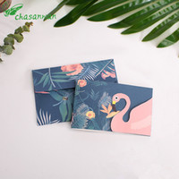 Wholesale wedding blessing cards resale online - New Flamingo Wedding Invitations Birthday Blessing Card with Envelope Baby Shower Wedding Decoration Festival Supplies b