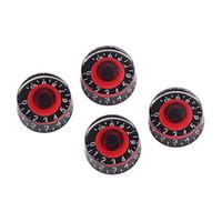 botón de control negro al por mayor-4 GD17A amplificadores perilla de control de pedal efecto acrílico para bajo guitarra eléctrica (negro y rojo)