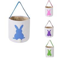 Wholesale bunny basket resale online - INS Burlap Easter Bunny Baskets DIY Kids Rabbit Bags Bunny Storage Bag Jute Rabbit Ears Basket Easter Gift Bag Rabbit Ears Put Easter Eggs