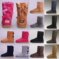 black ankle boot al por mayor-2019 UGG WGG classic Australia botas de invierno para mujer castaño negro azul rosa diseñador de café botas de piel de nieve para mujer tobillo botas hasta la rodilla