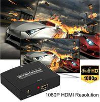projetor conversor portátil venda por atacado-50set / lot VGA + R / L VGA para HDMI Conversor Com Áudio VGA2HDMI 1080p HD Áudio AV Adapter Connector para o Projetor PC Portátil para HDTV