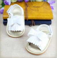 Wholesale baby newborns sandals resale online - Summer Fashion Newborn Baby Girls Bow Tassel Toddler Shoes Solid Sandals Toddler Princess Casual Girl Kid Shoes Soft Sole