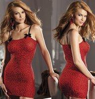ingrosso camicie da stampa di leopardo-S M L XL biancheria sexy delle donne Red Leopard Print camicie da notte femminile da notte see-through Sling Sleepwear SFW293