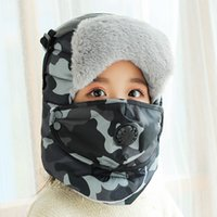 Wholesale aviator warm cap hat for sale - Group buy Camouflage Bomber Hats Women Men Winter Warm Windproof Ski Cap With Ear Flaps And Mask Pilot Goggles Warm Aviator Hats Trooper Trapper Cap