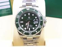 спортивные наручные часы mens sapphire оптовых-Мужские автоматические часы с 2813-часовым механизмом и сапфировым стеклом с зеленым керамическим ободком 116610LV Sub Dive Мужчины спортивные вечные наручные часы