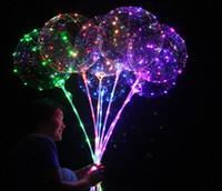 coração verde balões em forma venda por atacado-20 polegadas Led Bobo ballooon Luminous Bobo Balões LED Balão leve 20 polegadas para Balões Wedding Party Festival luminosos Decorações Brinquedos