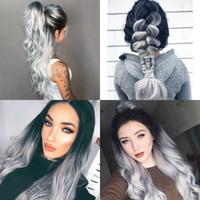 perucas cinza para mulheres venda por atacado-Peruca resistente ao calor sintética das perucas do laço da parte dianteira do cinza do preto do cabelo das mulheres