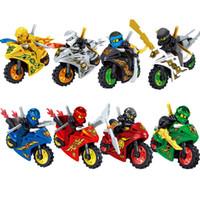 brinquedo jay venda por atacado-Ninjagoing cole kai jay lloyd nya zane dourado ninja com motocicleta brinquedo para crianças