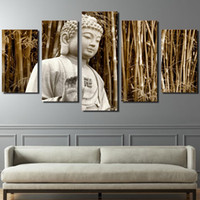 Wholesale buddha paintings free resale online - 5 Panel HD Printed Buddha Painting Wall Art Room Decor Print Poster Picture Canvas