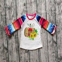 mädchen rüsche tops großhandel-Mädchen Halloween bunte Shirt Baby Kinder Kürbis Blumendruck Tops Sommer Langarm Rüschen T-Shirt für 1-7T