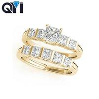 fantastische diamantringe großhandel-QYI 10K Fest Gelbgold Fancy Form Verlobungsring Sets Platz Cut 0.5ct Sona simulierte Diamant-Frauen-Verpflichtungs-Ehering