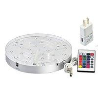 akülü led ışık tabanı toptan satış-Şarj edilebilir pil Yuvarlak Uzaktan kumanda RGB renk değiştirme Aydınlatma Yuvarlak ışık taban lambalı ışık tabanı LED kumandalıdır