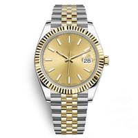 vestido de reloj automático al por mayor-41mm Reloj para hombre Deportes Relojes de pulsera mecánicos automáticos Reloj de pulsera de diseñador de dos tonos con esfera dorada Reloj Vestido de moda Relojes casuales Simple