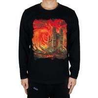 punkmetallt-shirts großhandel-Sommer-Art-T-Shirt Notre Dame De Paris Kirche Bloodshot Dämmerung Felsen Männer Frauen-T-Shirt Punk Schwerer Melodic Metal Langarm Größe S-2XL