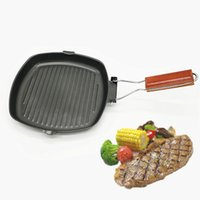 Wholesale steel barbecue grills for sale - Group buy 24x24 Cm Steak Frying Pan Refined Iron Pot Folding Thickened Non Stick Grill Pan Cooking Pan Barbecue Outdoor Camping Cookware