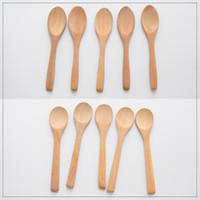 cucharas de mermelada al por mayor-Mermelada de madera Cuchara Niños Cuchara de Miel Café Té Tazón Cucharas Utensilios de cocina Vajilla Cucharas 13 * 2.7 cm