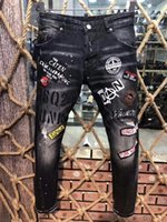 ingrosso jeans 25-Marchio di moda italiano micro-elastico Slim patch riparazione lavare jeans moda perforato 1: 1 garanzia della qualità 9605