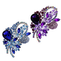Wholesale large bouquet brooches for sale - Group buy 2pcs Women s Rhinestone Crystal Wedding Large Flower Leaf Bouquet Brooch Pin